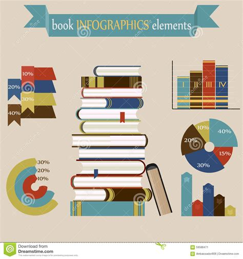 book layout elements book infographics elements set stock vector image 59588471