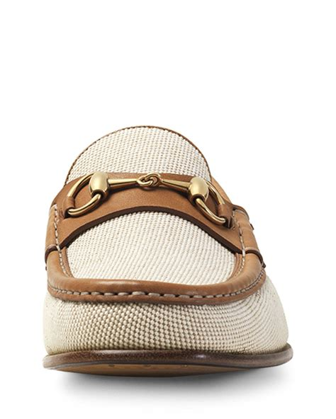 gucci canvas loafers gucci canvas leather horsebit loafer in brown for lyst