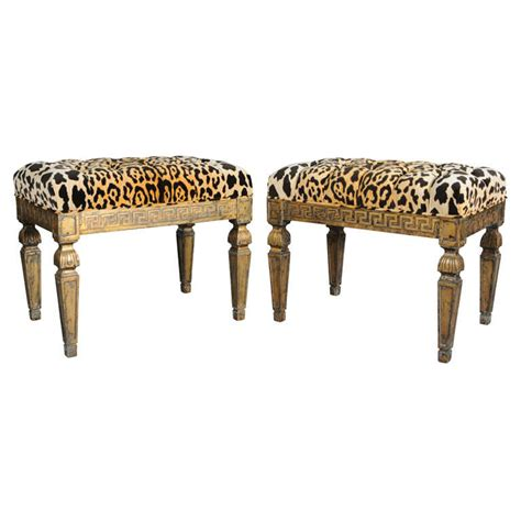 leopard print x bench pair of gilt benches with key apron and leopard