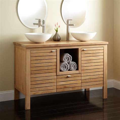 "48"" Wickham Teak Double Vessel Sink Vanity   Bathroom"