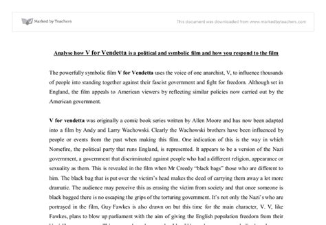 V For Vendetta Essay by V For Vendetta Essay