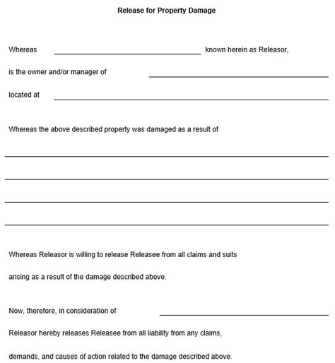 Property Damage Release Form Template release for property damage template