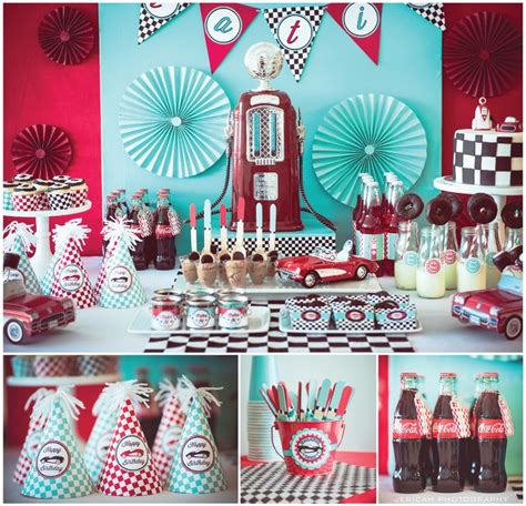 party themes classic vintage car theme fill er up gas station party https