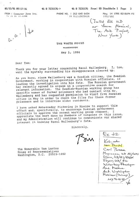 Thank You Letter To Your Cooperating Letter To Tom Lantos From Bill Clinton Searching For Raoul Wallenberg Searching For Raoul
