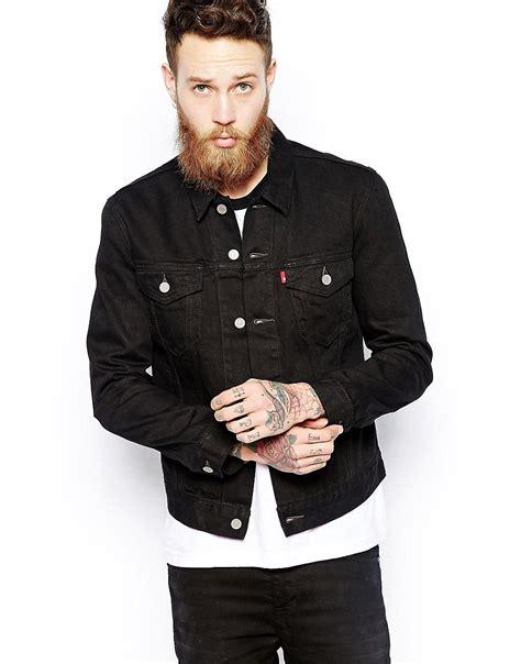 Jeand Washed Vest Fit L levis levi s denim jacket slim fit trucker black newsprint wash at asos