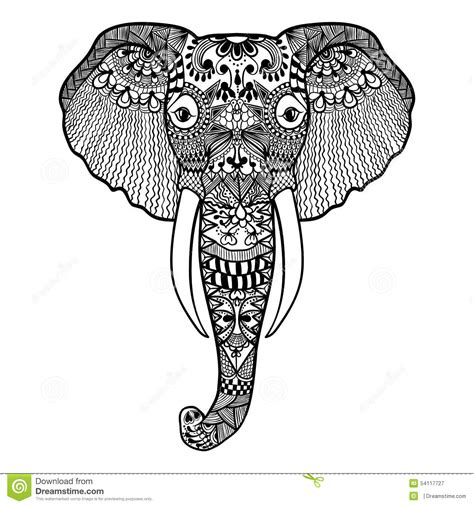 zentangle stilisierte elefanten hand gezeichnete