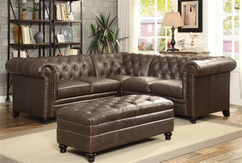 coaster sectional coaster roy sectional sofa set brown 500268 sect set 2