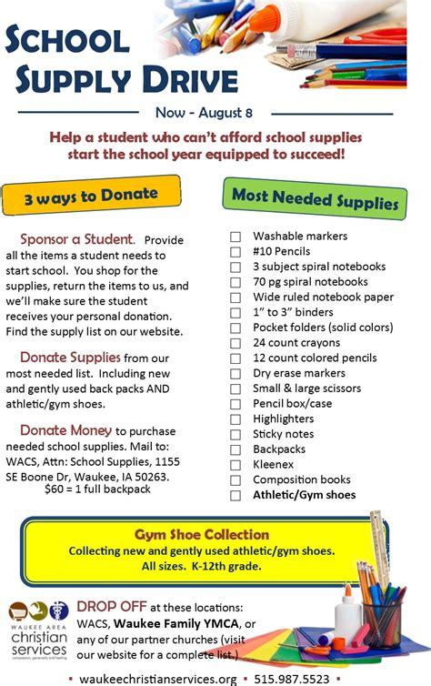 school supplies flyer template design waukee area christian services