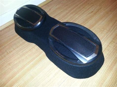 buy dual  fiberglass enclosure speaker mount black fleece  sony alpine motorcycle