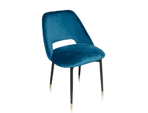 Blue Velvet Dining Chairs Beautiful Dining Chair With Its Black Metal Base And Seat In Cotton Velvet