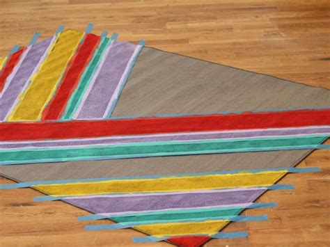 Painting An Outdoor Rug How To Paint Colorful Stripes On A Rug Hgtv
