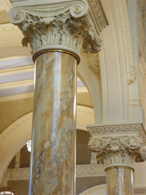 faux painted columns church restoration with faux marble and decorative paint