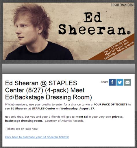 Ed Sheeran Ticket Giveaway - edsheeran us ed sheeran fan 187 contests