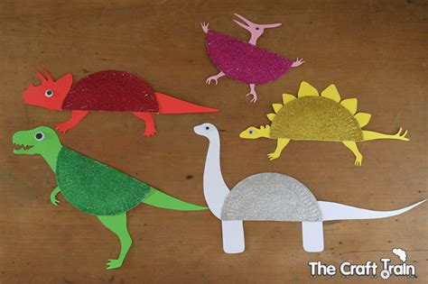 Dinosaur Paper Craft - sparkly paper plate dinosaurs by the craft