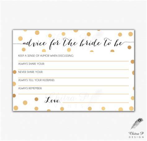 bridal shower advice cards template gold black bridal advice card printed or printable instant