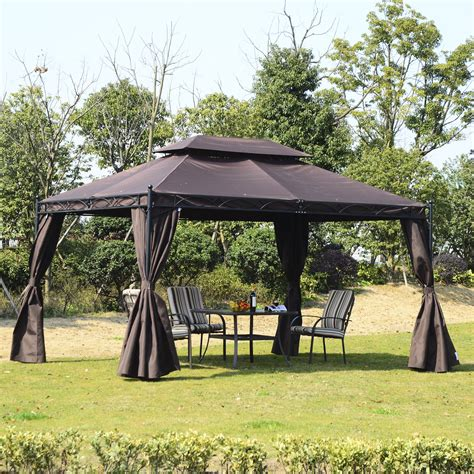 gazebo pavillon outsunny 3x4m metal gazebo marquee w sidewalls coffee