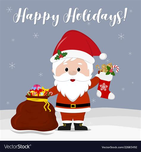 happy  year  merry christmas cute santa vector image