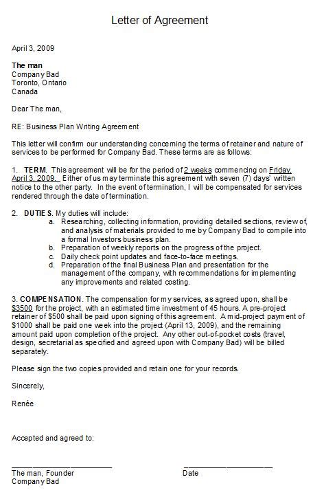 agreement letter in free printable letter of agreement form generic