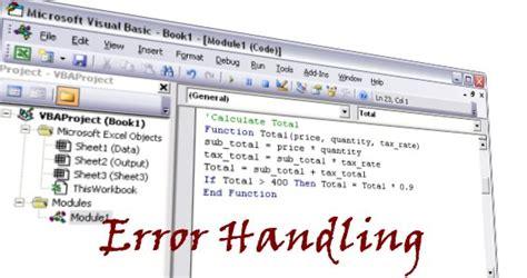 vba on error statement handling errors in excel macros