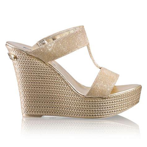 Wedges Kokop Hitam Glitter Gold bromley pukka up glitter wedge gold fabric wedges bromley