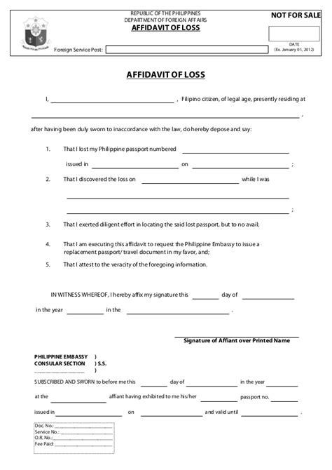 affidavit of loss template affidavit of loss
