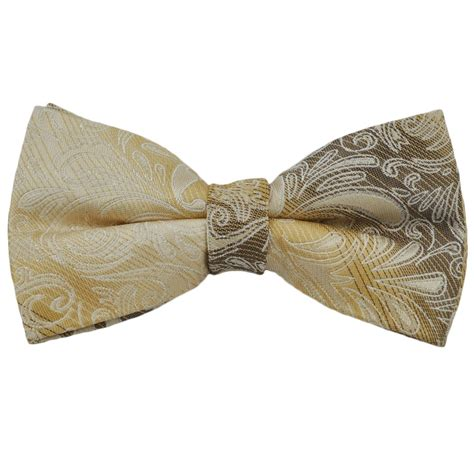 pale gold paisley silk bow tie from ties planet uk