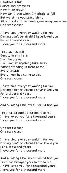 testo thousand years lyrics on a thousand years