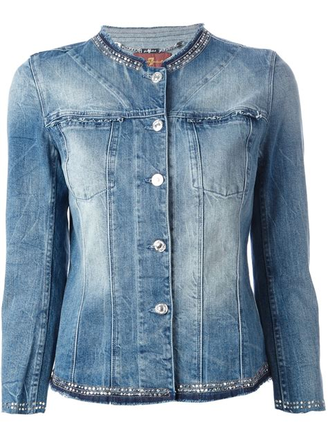 7 Jackets For Your by 7 For All Mankind Embellished Denim Jacket In Blue Lyst