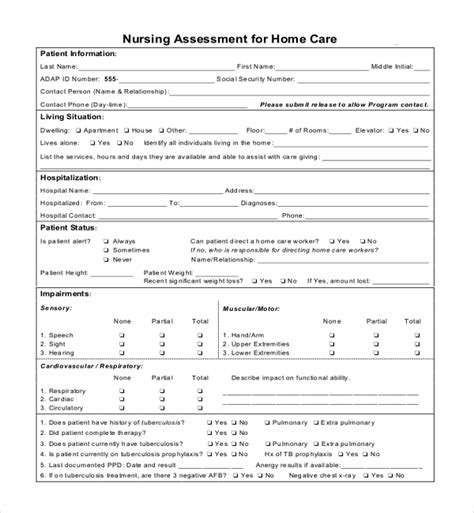 nursing assessment form sle nursing assessment forms 7 free documents in pdf