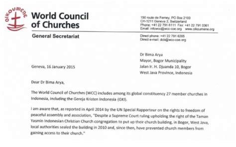 dewan gereja se dunia mengirim surat keprihatinan kepada walikota bogor