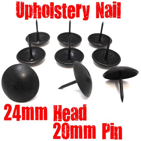 Large Black Upholstery Nail 24mm Wide Head 20mm Pin