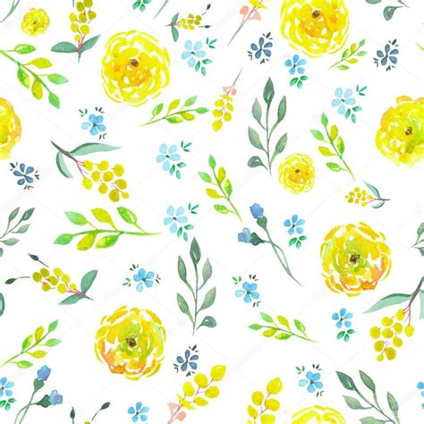yellow watercolor pattern seamless floral pattern with watercolor yellow and blue