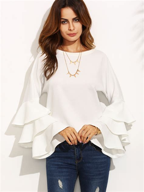 Ruffle Neck Blouse Sleeve by Frill Tiered Fluted Sleeve Top Shein Sheinside