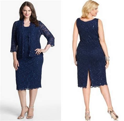 I Big Size Navy navy blue lace of the dresses with jacket