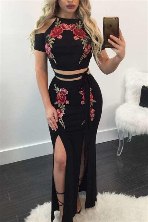 Black Slit Roses S M L Skirt 43355 1 black flower embroider cold shoulder top and slit skirt set