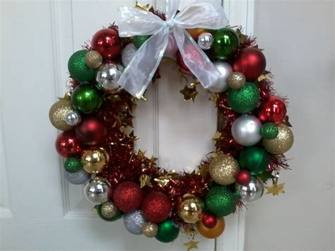 christmas wreath made out of pipe insulation foam tinsel