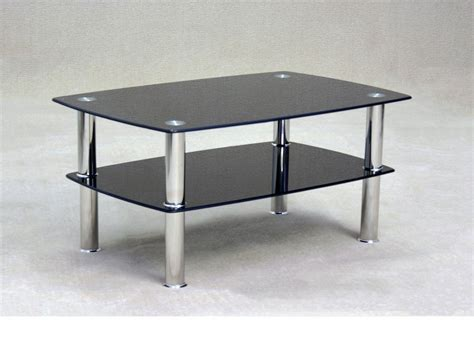 Black Glass Coffee Table With Storage Shelf Homegenies Black Glass Coffee Tables