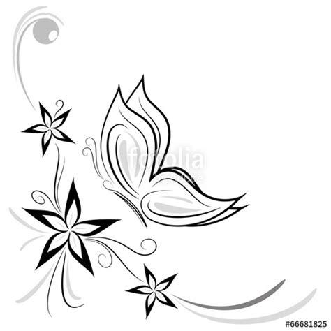 tatuaggi fiori stilizzati quot fiorellini stilizzati e farfalla decorazione quot stock image