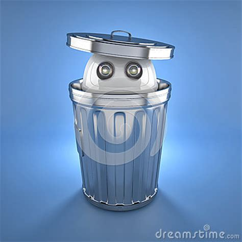android trash bin android robot inside trash bin royalty free stock images image 30900449