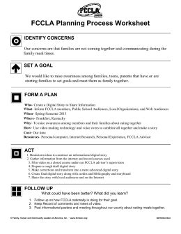 Good Life Fccla Planning Process Template