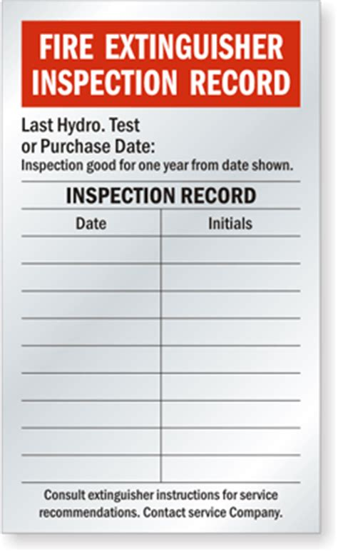 extinguisher inspection tag template monthly extinguisher inspection tags