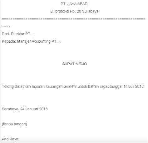 kumpulan contoh surat memo dalam bhs inggris dan indonesia
