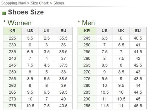 h m shoe size guide clothing and shoe sizes 171 seoul