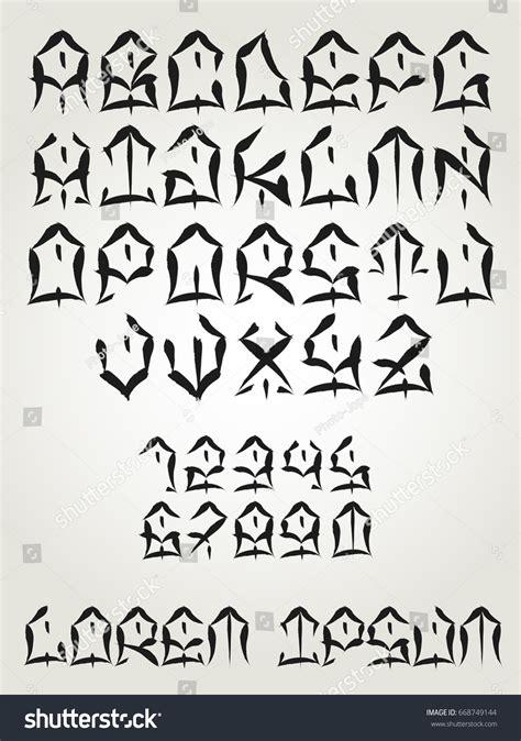 tattoo font west coast vectorial font west coast graffiti hand stock vector