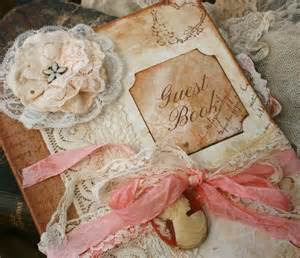 shabby chic guest book custom vintage style guest book for wedding vintage