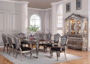 acme chantelle 9pc dining room set in antique platinum by dining rooms outlet
