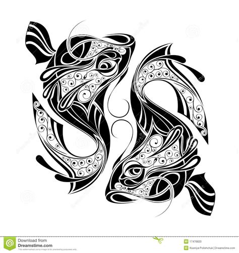 pisces zodiac tattoo designs zodiac wheel with sign of pisces design stock photo