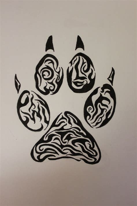tribal print tattoo wolf paw tribal by wolfbaltodog on deviantart