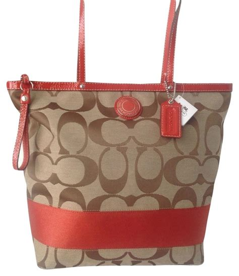 Coach Eddie Tote Khaki Brown coach signature stripe khaki brown large khaki watermelon tote bag on sale 22 totes on sale