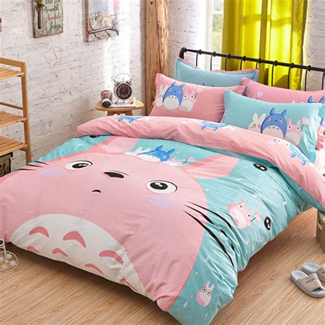 cute bed sets queen cute totoro bedding set 3 4pcs cartoon jogo de cama unique design anime bed sheets